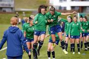 8 June 2021; Jessica Ziu, left, and Jamie Finn during a Republic of Ireland women training session at Versalavollur in Reykjavik, Iceland. Photo by Eythor Arnason/Sportsfile