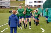 8 June 2021; Claire Walsh, left, and Megan Connolly during a Republic of Ireland women training session at Versalavollur in Reykjavik, Iceland. Photo by Eythor Arnason/Sportsfile