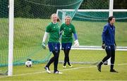 8 June 2021; Goalkeepers, from left, Courtney Brosnan, Grace Moloney and Eve Badana during a Republic of Ireland women training session at Versalavollur in Reykjavik, Iceland. Photo by Eythor Arnason/Sportsfile