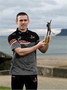 9 June 2021; Antrim hurler Ciaran Clarke with his PwC GAA / GPA Player of the Month award in Hurling for May 2021 in Ballycastle, County Antrim.  Photo by Harry Murphy/Sportsfile