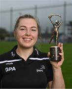 9 June 2021; Gráinne Egan of Offaly with the PwC GPA Women's Player of the Month in Camogie at Tullamore GAA club in Offaly.  Photo by Piaras Ó Mídheach/Sportsfile
