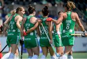 9 June 2021; Roisin Upton of Ireland celebrates with team-mates after scoring from a penalty corner during the Women's EuroHockey Championships Pool A match between Ireland and Spain at Wagener Hockey Stadium in Amstelveen, Netherlands. Photo by Gerrit van Keulen/Sportsfile
