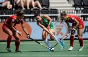 9 June 2021; Anna O'Flanagan of Ireland in action against Lola Riera, left, and Alejandra Torres-Quevedo of Spain during the Women's EuroHockey Championships Pool A match between Ireland and Spain at Wagener Hockey Stadium in Amstelveen, Netherlands. Photo by Gerrit van Keulen/Sportsfile