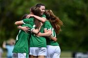 9 June 2021; Maria Reynolds of Republic of Ireland, behind, celebrates with team-mates after Rebecca Watkins scored their side's first goal during the Women's U19 International Friendly between Republic of Ireland and Northern Ireland at AUL Complex in Dublin. Photo by Piaras Ó Mídheach/Sportsfile