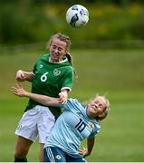 9 June 2021; Aoibheann Clancy of Republic of Ireland in action against Abbie McHenry of Northern Ireland during the Women's U19 International Friendly between Republic of Ireland and Northern Ireland at AUL Complex in Dublin. Photo by Piaras Ó Mídheach/Sportsfile