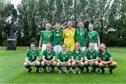 9 June 2021; The Republic of Ireland team; back row, from left, Olivia Milner, Aoibheann Clancy, Rugile Auskalnyte, Maria Reynolds and Jessie Stapleton, front row, Melissa O'Kane, Muireann Devaney, Aoife Horgan, Shauna Brennan, Orlagh Fitzpatrick and Rebecca Watkins before the Women's U19 International Friendly between Republic of Ireland and Northern Ireland at AUL Complex in Dublin. Photo by Piaras Ó Mídheach/Sportsfile