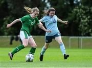 9 June 2021; Abbie Callanan of Republic of Ireland in action against Kathryn McConnell of Northern Ireland during the Women's U19 International Friendly between Republic of Ireland and Northern Ireland at AUL Complex in Dublin. Photo by Piaras Ó Mídheach/Sportsfile