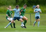 9 June 2021; Rhyleigh Marks of Northern Ireland in action against Rebecca Watkins of Republic of Ireland during the Women's U19 International Friendly between Republic of Ireland and Northern Ireland at AUL Complex in Dublin. Photo by Piaras Ó Mídheach/Sportsfile