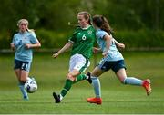 9 June 2021; Aoibheann Clancy of Republic of Ireland in action against Keri Halliday of Northern Ireland during the Women's U19 International Friendly between Republic of Ireland and Northern Ireland at AUL Complex in Dublin. Photo by Piaras Ó Mídheach/Sportsfile