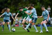 9 June 2021; Maria Reynolds of Republic of Ireland in action against Northern Ireland players, from left, Abbie McHenry, Tierna Bell, and Shona Davis during the Women's U19 International Friendly between Republic of Ireland and Northern Ireland at AUL Complex in Dublin. Photo by Piaras Ó Mídheach/Sportsfile