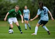 9 June 2021; Aoibheann Clancy of Republic of Ireland in action against Rhyleigh Marks of Northern Ireland during the Women's U19 International Friendly between Republic of Ireland and Northern Ireland at AUL Complex in Dublin. Photo by Piaras Ó Mídheach/Sportsfile
