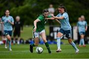 9 June 2021; Maria Reynolds of Republic of Ireland in action against Tierna Bell of Northern Ireland during the Women's U19 International Friendly between Republic of Ireland and Northern Ireland at AUL Complex in Dublin. Photo by Piaras Ó Mídheach/Sportsfile