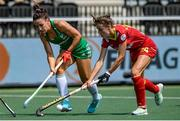 9 June 2021; Anna O'Flanagan of Ireland and Alejandra Torres-Quevedo of Spain during the Women's EuroHockey Championships Pool A match between Ireland and Spain at Wagener Hockey Stadium in Amstelveen, Netherlands. Photo by Gerrit van Keulen/Sportsfile