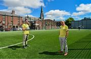 """10 June 2021; Football for Unity ambassadors Michael Darragh MacAuley, left, and Brian Kerr pictured at the launch of the Football for Unity Festival which will take place at venues across the north east inner city of Dublin from Monday 14th of June to Friday 16th of July. The Football for Unity Festival aims to foster the social inclusion of third-country nationals sustainably through active participation in football-based initiatives. For more information visit - www.footballforunity.ie"""".  Photo by Brendan Moran/Sportsfile"""
