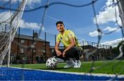 """10 June 2021; Football For Unity player and a refugee residing in Ireland from Palestine, Tareq Altourk, at the launch of the Football for Unity Festival which will take place at venues across the north east inner city of Dublin from Monday 14th of June to Friday 16th of July. The Football for Unity Festival aims to foster the social inclusion of third-country nationals sustainably through active participation in football-based initiatives. For more information visit - www.footballforunity.ie"""".  Photo by Brendan Moran/Sportsfile"""