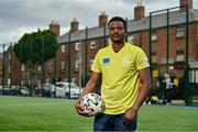 """10 June 2021; Mehari Kahasay at the launch of the Football for Unity Festival which will take place at venues across the north east inner city of Dublin from Monday 14th of June to Friday 16th of July. The Football for Unity Festival aims to foster the social inclusion of third-country nationals sustainably through active participation in football-based initiatives. For more information visit - www.footballforunity.ie"""".  Photo by Brendan Moran/Sportsfile"""