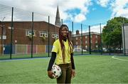 """10 June 2021; Mariama Kamari at the launch of the Football for Unity Festival which will take place at venues across the north east inner city of Dublin from Monday 14th of June to Friday 16th of July. The Football for Unity Festival aims to foster the social inclusion of third-country nationals sustainably through active participation in football-based initiatives. For more information visit - www.footballforunity.ie"""".  Photo by Brendan Moran/Sportsfile"""