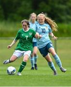 9 June 2021; Aoife Horgan of Republic of Ireland in action against Abbie McHenry of Northern Ireland during the Women's U19 International Friendly between Republic of Ireland and Northern Ireland at AUL Complex in Dublin. Photo by Piaras Ó Mídheach/Sportsfile