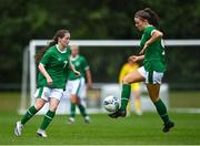 9 June 2021; Rebecca Watkins, right, and Aoife Horgan of Republic of Ireland during the Women's U19 International Friendly between Republic of Ireland and Northern Ireland at AUL Complex in Dublin. Photo by Piaras Ó Mídheach/Sportsfile
