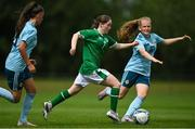 9 June 2021; Aoife Horgan of Republic of Ireland in action against Abbie McHenry, right, and Tierna Bell of Northern Ireland during the Women's U19 International Friendly between Republic of Ireland and Northern Ireland at AUL Complex in Dublin. Photo by Piaras Ó Mídheach/Sportsfile