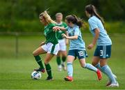 9 June 2021; Meghan Carr of Republic of Ireland in action against Keri Halliday of Northern Ireland during the Women's U19 International Friendly between Republic of Ireland and Northern Ireland at AUL Complex in Dublin. Photo by Piaras Ó Mídheach/Sportsfile