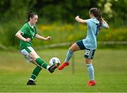 9 June 2021; Melissa O'Kane of Republic of Ireland in action against Keri Halliday of Northern Ireland during the Women's U19 International Friendly between Republic of Ireland and Northern Ireland at AUL Complex in Dublin. Photo by Piaras Ó Mídheach/Sportsfile