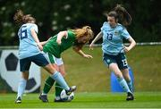 9 June 2021; Muireann Devaney of Republic of Ireland in action against Lucy Johnston, left, and Kathryn McConnell of Northern Ireland during the Women's U19 International Friendly between Republic of Ireland and Northern Ireland at AUL Complex in Dublin. Photo by Piaras Ó Mídheach/Sportsfile