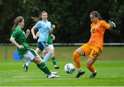 9 June 2021; Northern Ireland goalkeeper Lilie Crooks in action against Aoife Horgan of Republic of Ireland during the Women's U19 International Friendly between Republic of Ireland and Northern Ireland at AUL Complex in Dublin. Photo by Piaras Ó Mídheach/Sportsfile