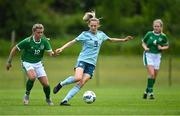 9 June 2021; Eve Reilly of Northern Ireland in action against Jenna Slattery of Republic of Ireland during the Women's U19 International Friendly between Republic of Ireland and Northern Ireland at AUL Complex in Dublin. Photo by Piaras Ó Mídheach/Sportsfile