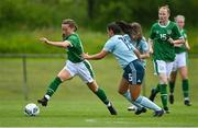 9 June 2021; Jessica Neville of Republic of Ireland in action against Talia Keenan of Northern Ireland during the Women's U19 International Friendly between Republic of Ireland and Northern Ireland at AUL Complex in Dublin. Photo by Piaras Ó Mídheach/Sportsfile