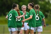 9 June 2021; Rebecca Watkins of Republic of Ireland, right, celebrates scoring her side's second goal with team-mate Melissa O'Kane during the Women's U19 International Friendly between Republic of Ireland and Northern Ireland at AUL Complex in Dublin. Photo by Piaras Ó Mídheach/Sportsfile