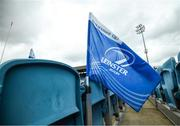 10 June 2021; Supporters flags at the RDS Arena ahead of Leinster Rugby's Guinness PRO14 Rainbow Cup game against Dragons on Friday, 11 June. The game has been designated a test event by the Irish Government whereby 1,200 supporters will be allowed access to attend the match. Photo by Stephen McCarthy/Sportsfile