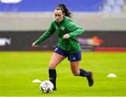 10 June 2021; Roma McLaughlin during a Republic of Ireland women training session at Laugardalsvollur in Reykjavik, Iceland. Photo by Eythor Arnason/Sportsfile