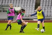 10 June 2021; Megan Connolly, right, in action against Saoirse Noonan, left, and Jessica Ziu during a Republic of Ireland women training session at Laugardalsvollur in Reykjavik, Iceland. Photo by Eythor Arnason/Sportsfile