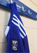 17 May 2021; A detailed view of the Cavan crest on the jersey during a Cavan football squad portrait session at Kingspan Breffni in Cavan. Photo by Piaras Ó Mídheach/Sportsfile