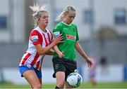 2 May 2021; Stephanie Roche of Peamount United in action against Jesse Mendez of Treaty United during the SSE Airtricity Women's National League match between Treaty United and Peamount United at Jackman Park in Limerick. Photo by Piaras Ó Mídheach/Sportsfile