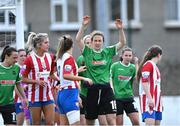 2 May 2021; Karen Duggan of Peamount United awaits a corner during the SSE Airtricity Women's National League match between Treaty United and Peamount United at Jackman Park in Limerick. Photo by Piaras Ó Mídheach/Sportsfile