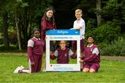 11 June 2021; 6th class pupils from St. Brigid's National School, from left, Nero Arubayi, Phoebe Duncan, Aveen McDonnell, Jarlath O'Farrell and Sibbhant Raipal at the Daily Mile launch at St. Brigid's National School, Beechpark Lawn, Castleknock in Dublin.  Photo by Matt Browne/Sportsfile