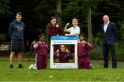 11 June 2021; Minister of State for Sport and the Gaeltacht Jack Chambers TD with 6th class pupils from his former school St. Brigid's National School, from left, Nero Arubayi, Phoebe Duncan, Aveen McDonnell, Jarlath O'Farrell and Sibbhant Raipal, and CEO Athletics Ireland Hamish Adams at the Daily Mile launch at St. Brigid's National School, Beechpark Lawn, Castleknock in Dublin. Photo by Matt Browne/Sportsfile