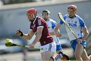 6 June 2021; Conor Whelan of Galway gets away from Calum Lyons of Waterford during the Allianz Hurling League Division 1 Group A Round 4 match between Galway and Waterford at Pearse Stadium in Galway. Photo by Ramsey Cardy/Sportsfile