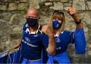 11 June 2021; Leinster supporters Maria Fitzgibbon and Dara Wyer from in Kildare before the Guinness PRO14 match between Leinster v Dragons at RDS Arena in Dublin. The game is one of the first of a number of pilot sports events over the coming weeks which are implementing guidelines set out by the Irish government to allow for the safe return of spectators to sporting events. Photo by Harry Murphy/Sportsfile