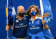11 June 2021; Leinster supporters Maria Fitzgibbon and Dara Wyer from in Kildare before the Guinness PRO14 match between Leinster v Dragons at RDS Arena in Dublin. The game is one of the first of a number of pilot sports events over the coming weeks which are implementing guidelines set out by the Irish government to allow for the safe return of spectators to sporting events. Photo by Ramsey Cardy/Sportsfile