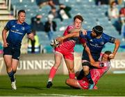 11 June 2021; Scott Fardy of Leinster offloads to team-mate Rory O'Loughlin as he is tackled by Jamie Roberts and Aneurin Owen of Dragons during the Guinness PRO14 match between Leinster v Dragons at RDS Arena in Dublin. The game is one of the first of a number of pilot sports events over the coming weeks which are implementing guidelines set out by the Irish government to allow for the safe return of spectators to sporting events. Photo by Harry Murphy/Sportsfile