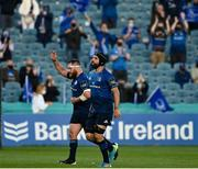 11 June 2021; Scott Fardy, right, and Michael Bent of Leinster leave the field during the Guinness PRO14 match between Leinster and Dragons at the RDS Arena in Dublin. Photo by Harry Murphy/Sportsfile
