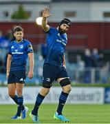 11 June 2021; Scott Fardy of Leinster waves to the crowd upon being substituted in his last game during the Guinness PRO14 match between Leinster and Dragons at RDS Arena in Dublin. The game is one of the first of a number of pilot sports events over the coming weeks which are implementing guidelines set out by the Irish government to allow for the safe return of spectators to sporting events. Photo by Brendan Moran/Sportsfile