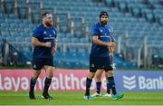 11 June 2021; Michael Bent, left, and Scott Fardy of Leinster leave the pitch upon being substituted in their last game during the Guinness PRO14 match between Leinster and Dragons at RDS Arena in Dublin. The game is one of the first of a number of pilot sports events over the coming weeks which are implementing guidelines set out by the Irish government to allow for the safe return of spectators to sporting events. Photo by Brendan Moran/Sportsfile