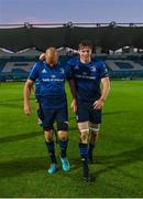 11 June 2021; Scott Fardy, left, and Ryan Baird of Leinster after the Guinness PRO14 match between Leinster v Dragons at RDS Arena in Dublin. The game is one of the first of a number of pilot sports events over the coming weeks which are implementing guidelines set out by the Irish government to allow for the safe return of spectators to sporting events. Photo by Ramsey Cardy/Sportsfile