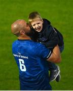 11 June 2021; Scott Fardy of Leinster and his son August after the Guinness PRO14 match between Leinster and Dragons at the RDS Arena in Dublin. Photo by Harry Murphy/Sportsfile