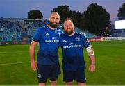 11 June 2021; Scott Fardy, left, and Michael Bent of Leinster after the Guinness PRO14 match between Leinster v Dragons at RDS Arena in Dublin. The game is one of the first of a number of pilot sports events over the coming weeks which are implementing guidelines set out by the Irish government to allow for the safe return of spectators to sporting events. Photo by Ramsey Cardy/Sportsfile