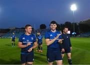 11 June 2021; Scott Penny, left, and Harry Byrne of Leinster after the Guinness PRO14 match between Leinster v Dragons at RDS Arena in Dublin. The game is one of the first of a number of pilot sports events over the coming weeks which are implementing guidelines set out by the Irish government to allow for the safe return of spectators to sporting events. Photo by Ramsey Cardy/Sportsfile
